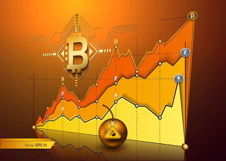 Digital vector bitcoin cryptocurrency chart diagram graphic payments money transfers