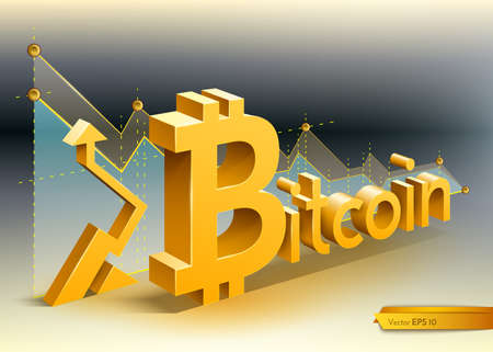 Digital vector bitcoin cryptocurrency chart diagram graphic payments money transfers financial concepts