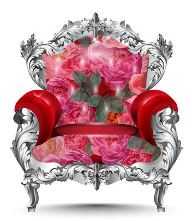 Baroque armchair silver ornament. Vintage furniture rich carved decor. Red roses upholstery Vector