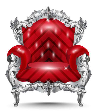 Baroque armchair silver ornament. Vintage furniture rich carved decor. Red upholstery Vector illustration