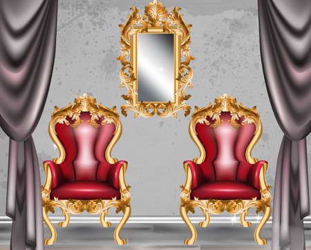 Red Baroque glamour armchair. Furniture with Victorian ornamented fabric. Vector realistic 3D design