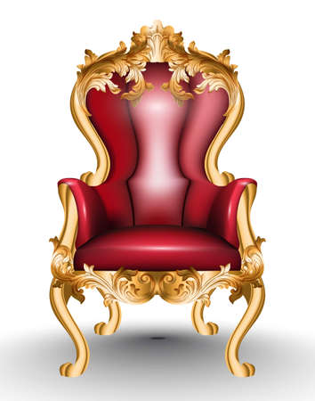 Red Baroque glamourous armchair isolated on white background. Furniture with golden Victorian ornamented fabric. Vector realistic 3D design