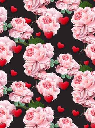 Valentines day pattern Roses and hearts Vector realistic illustration black backgrounds.
