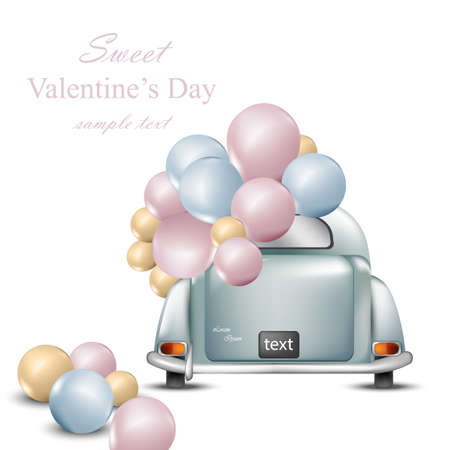 Vintage retro car with balloons. Valentines Day card Vector. Greeting card romantic design