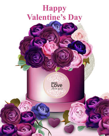 Happy Valentine card with peony and roses flowers gift box Vector illustration ultra violet and blue colors.