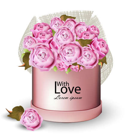 Happy Valentine card with peony flowers gift box Vector illustrations.