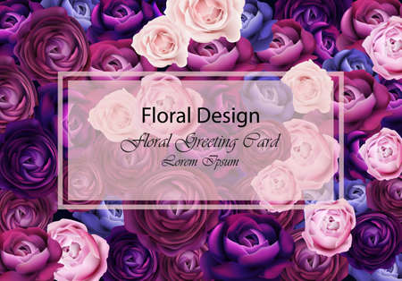 Rose flowers card background blue and violet colors Vector. Floral design trendy template.