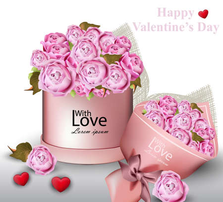 Happy Valentine card with peony flowers gift box Vector illustration