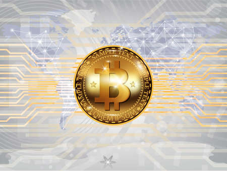 Vector realistic bitcoin cryptocurrency, map background illustration. Chart diagram, graphic payments, money transfers financial concepts