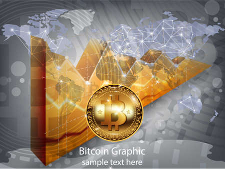 Digital vector bitcoin cryptocurrency realistic chart diagram, graphic payments, money transfers, financial concepts