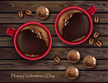 Valentine's day card with sweets in top view wooden background Illustration
