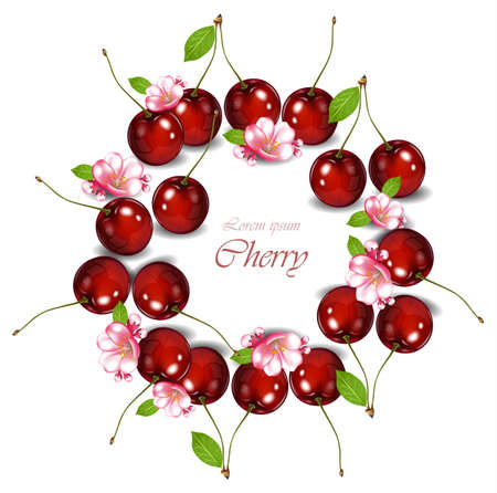 Cherry fruits wreath with flowers Vector realistic detailed illustrations