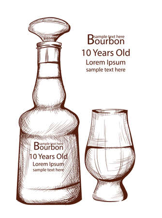 Bourbon Vintage bottle in line art Vector illustrations