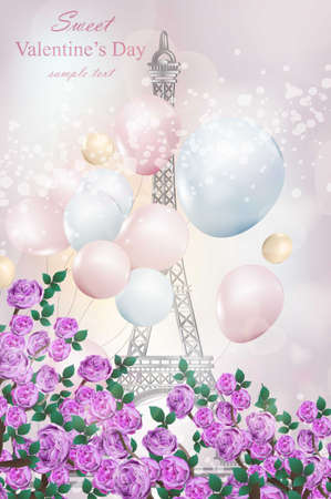 Happy Valentine Day Romantic card with balloons and Eiffel Tower Vector illustrations