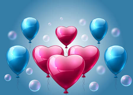 Pink and blue balloons realistic Vector. Heart shape shinny detailed 3d balloons