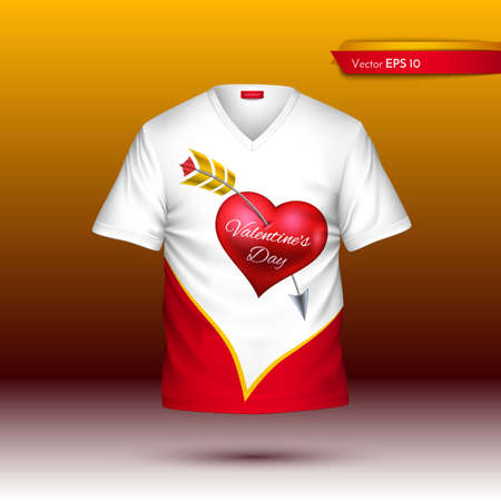 Happy Valentine Day T shirt Vector realistic. detailed volumed shirts with hearts print