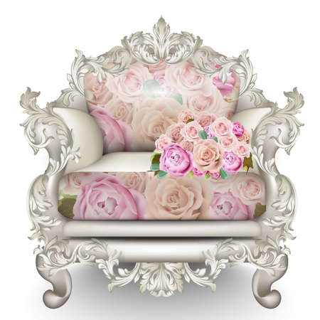 Baroque luxury armchair. Rich Furniture carved ornamented. Roses fabric texture. Vector realistic 3D design Illustration
