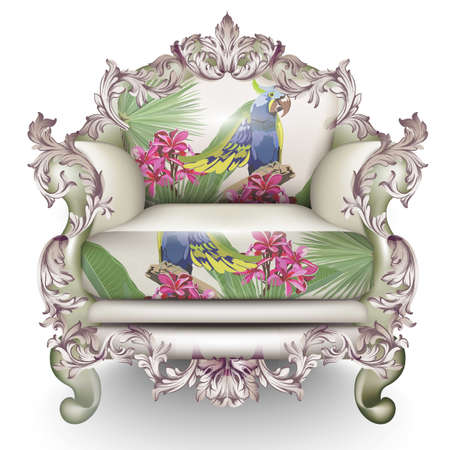 Baroque luxury armchair, rich furniture carved ornamented. Exotic fabric texture vector realistic 3D design. Illustration