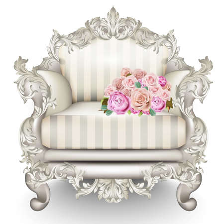 Baroque luxury armchair. Rich Furniture carved ornamented. Vintage striped fabric texture. Vector realistic 3D design