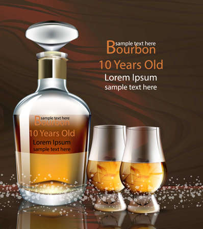 Bourbon bottle realistic vector, product packaging mock up. Vectores
