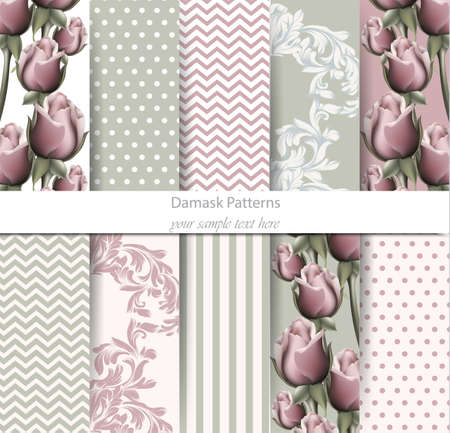 Vintage patterns set Vector. Rose floral desing and Baroque ornament. Vintage background. Pastel color fabric texture