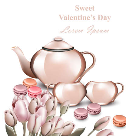 Teapot and macaroons Vector card. Romantic Breakfast concept Valentine day