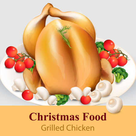 Roast chicken with vegetables Vector realistic. Menu page layout template detailed illustration Illustration