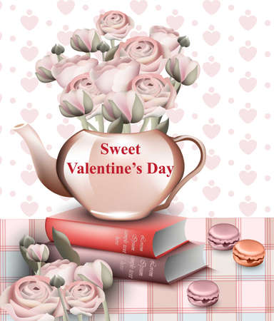 Sweet Valentine day card with rose paper flowers in a pot. Vector Retro style background Illustration
