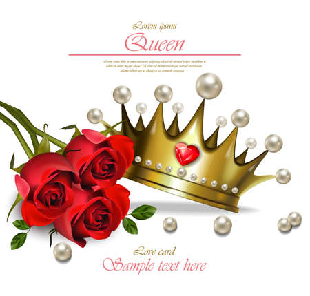 Queen crown Vector realistic. Glamorous golden crown with pearls. Beautiful royal card.