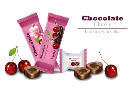 Cherry Chocolates Vector realistisch. Product verpakking merk pictogram ontwerp mock up