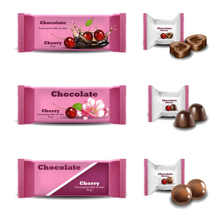 Cherry Chocolates Vector realistisch. Producten verpakking merkontwerp mock up Illustration