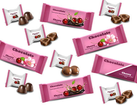 Cherry Chocolates Vector realistic pattern background. Ilustracja