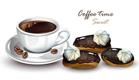 Coffee cup with eclair dessert Vector