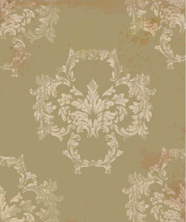 Baroque vector pattern in khaki color intricate design ornaments. Illustration