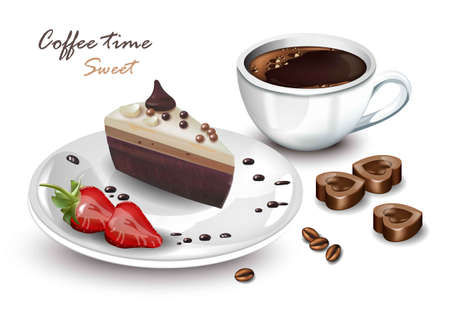 Coffee cup and Sweet cake slice Vector realistic. Coffeetime card