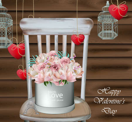 Vintage card with rose flower bouquet on a wood chair. Valentine day greeting card Vector realistic