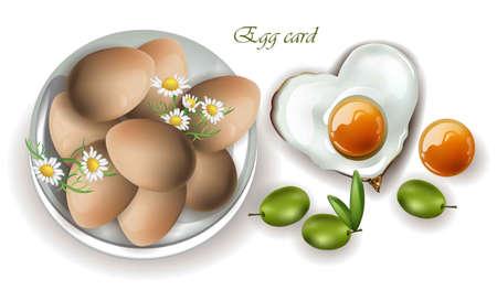 Eggs breakfast Vector realistic. Menu, page, template mock ups Illustration