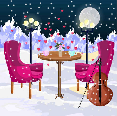 Romantic dinner in the air Vector. Snowing winter mountains background