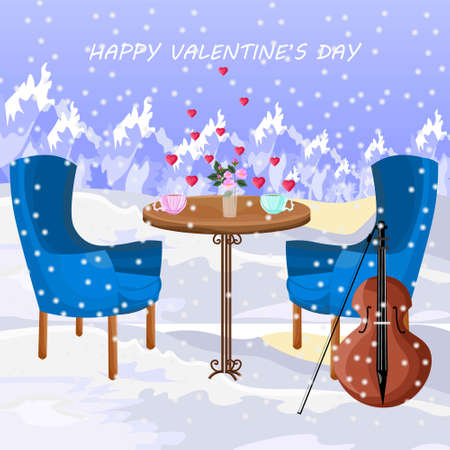 Romantic lunch in the air. Snowing winter mountains background Illustration