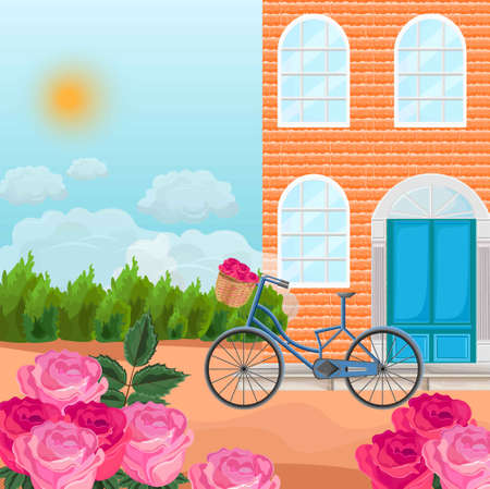 Brick house in a province background Vector. Bicycle and roses fields Summer