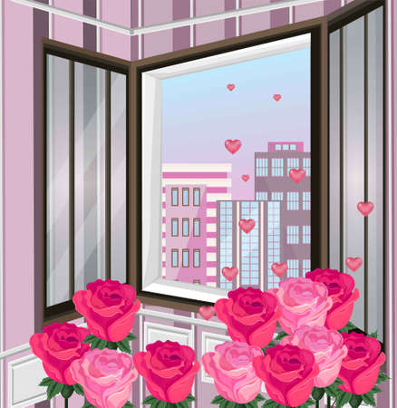 Romantic view through window Vector. Roses and hearts decor