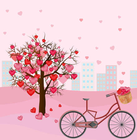 Hearts love tree and bicycle romantic background Vector