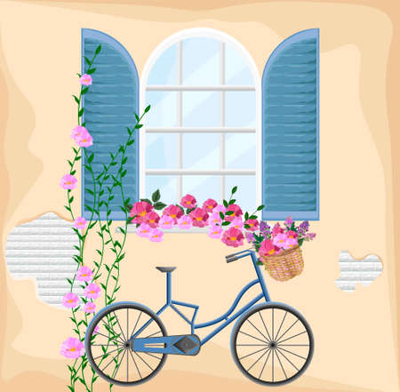 Vintage window with flowers. Bicycle and floral bouquet spring season background Vector illustration