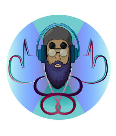 DJ Hipster icon template Vector. Colorful backgrounds