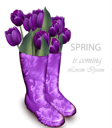 Spring background with Tulip flowers violet color and floral boots. Vector realistic illustrations