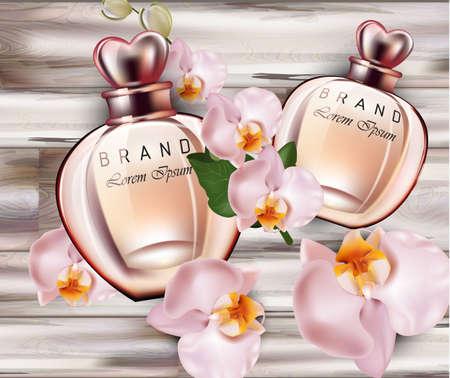 Bottiglie di profumo del fiore dell'orchidea Vettore realistico. Confezione del prodotto modelli similari