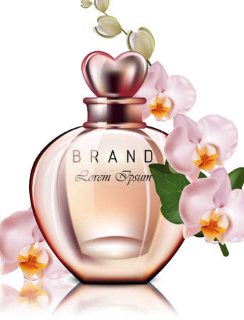 Perfume bottle isolated Vector realistic. Orchid flower scent. Product packaging mock up designs