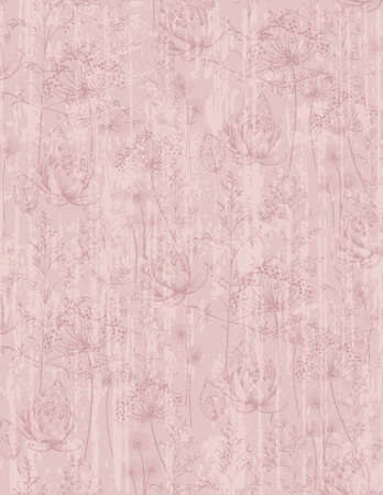 Dandelion flower abstract pattern Vector. Trendy pink colors texture