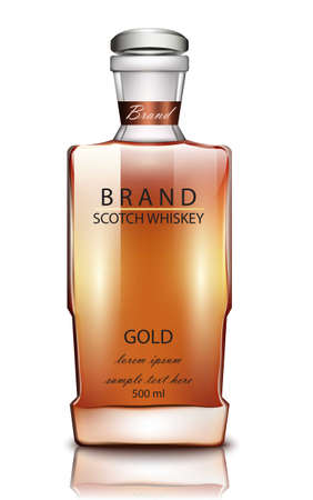 Butelka marki szkockiej whisky Wektor realistyczny. Makieta opakowania produktu. Ilustracje 3D