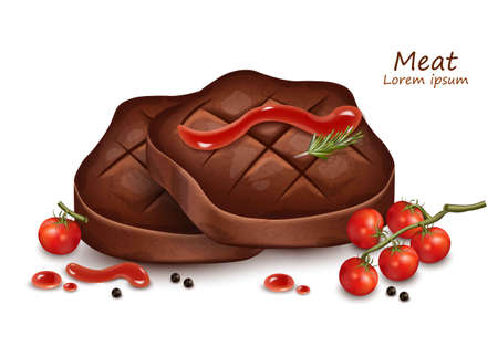 Meat steak slices with tomatoe sauce Vector realistic Illustration